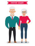 Retired couple in creative flat vector cartoon character design. Royalty Free Stock Photos