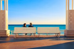 Retired Couple Enjoying The Sunset Royalty Free Stock Image