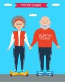 Retired couple. Flat  cartoon character design. Family. Stock Photo