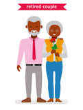 Retired couple. Flat vector cartoon character design. African American family. Royalty Free Stock Photography
