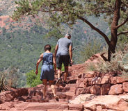 Retired couple hike in mountains. A older, retired couple hike in the mountains. Taken in Arizona 2015 Stock Photography