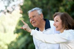 Retired couple looking up Royalty Free Stock Images