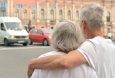 Retired couple outdoors Stock Photo