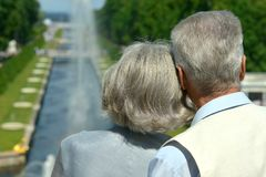 Retired couple outdoors. Back view of retired happy couple outdoors Stock Photos