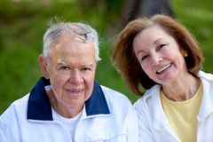 Retired couple at the park Stock Photography