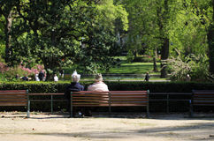Retired couple on a park bench Stock Photos