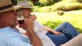 Retired couple sitting in deck chairs drinking wine