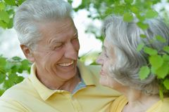 Retired couple smiling outdoors Stock Photos