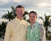 Retired couple on vacation stock photo