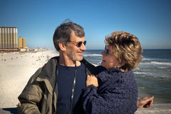 Retired couple on winter vacation stock image