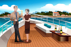 Retired Couple on a  Yacht Royalty Free Stock Image