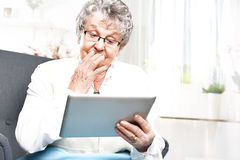 Retired, entertainment on the Internet Stock Photos