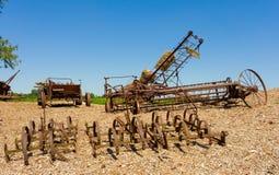 Retired farming equipment in canada Stock Photo