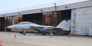 Fighter Jet on Display at a Museum Stock Images