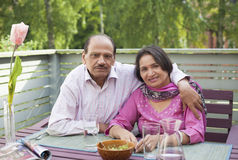 Retired indian couple. Senior indian couple enjoy a caring moment in retirement lifestyle Royalty Free Stock Photo