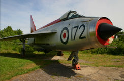 Retired Lightning F-1A Fighter Jet. An ex RAF BAC (formerly English Electric) Lightning F-1A XM172 - a supersonic single seater fighter jet fitted with twin Royalty Free Stock Photo