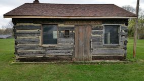 Retired log cabin. Old Cabin retired in a park Royalty Free Stock Image
