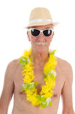 Retired man at the beach Stock Photos