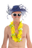 Retired man at the beach Royalty Free Stock Photos