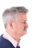 Retired man with CIC hearing aids Royalty Free Stock Photos