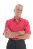 Retired man. Portrait retired man with mustache and red shirt isolated over white background Royalty Free Stock Photo