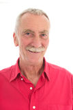 Retired man. Portrait retired man with mustache and red shirt isolated over white background Stock Photography