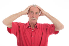 Retired man scares Royalty Free Stock Photos