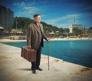 Retired man on vacation Stock Image