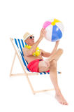 Retired man on vacation Stock Images