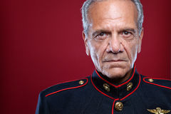 Retired Marine Portrait. Gray haired man in a Marine uniform Stock Images