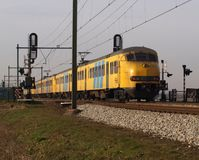 Retired Mat64 commuter train between Gouda and Rotterdam at Moordrecht, in the Netherlands Stock Photos