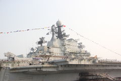 Retired Minsk aircraft carrier superstructure. Minsk is grade Kiev aircraft carrier 2 ship, named after the belarus capital of Minsk After the collapse of the Stock Photos
