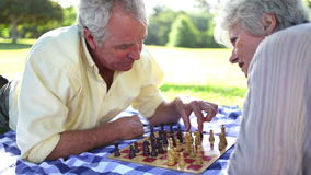 Retired people playing chess on the ground. In a park stock video footage