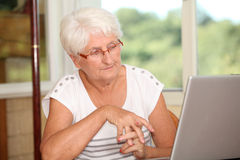 Retired people and technology Royalty Free Stock Image