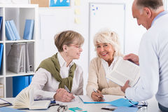 Retired people at university. Photo of retired people at university of the third age Stock Photos