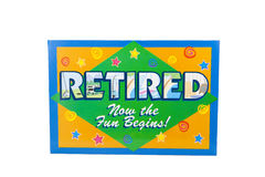 Retired. A retirement sign against a white background Stock Images