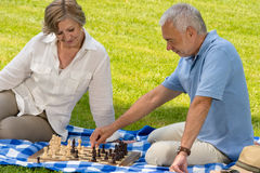 Retired senior couple playing chess in park Stock Photos