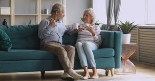 Retired senior couple talking drinking tea in living room together