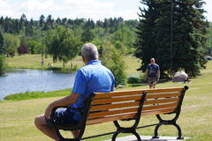 Retired. Senior sitting on a park bench people watching Royalty Free Stock Images