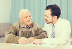 Retired and social employee fill form Stock Image