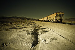 Retired Wagons, Trona Pinnacles. Retired wagons in the desert outside Trona Pinnacles, California Royalty Free Stock Photography