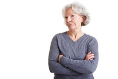 Retired woman with arms crossed Stock Images