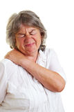 Retired woman with back pain Royalty Free Stock Photos