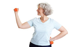 Retired woman exercising. Healthy senior woman exercising with two dumbbells Royalty Free Stock Image