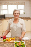 Retired woman looking at the camera in the kitchen Royalty Free Stock Photography