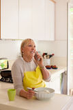Retired woman preparing food at home Stock Photography