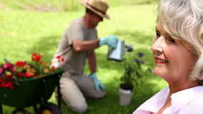 Retired woman watching her husband gardening stock footage