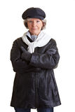 Retired woman in winter clothing Royalty Free Stock Photography