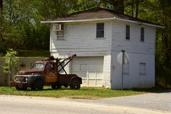 Retired wrecker. A rescue vehicle from the middle of last century, retired here in Homer, Georgia Stock Photography