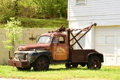Retired wrecker. A rescue vehicle from the middle of last century, retired here in Homer, Georgia Stock Photo